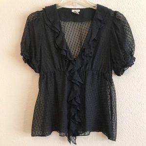Anthropologie Odille 100% Silk Sheer Black Blouse